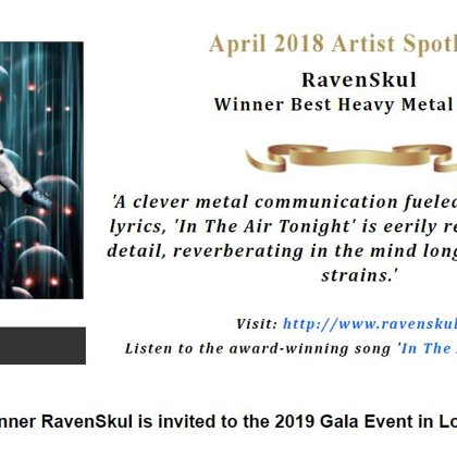 """In the Air Tonight"" Best Song Heavy Metal for April 2018"